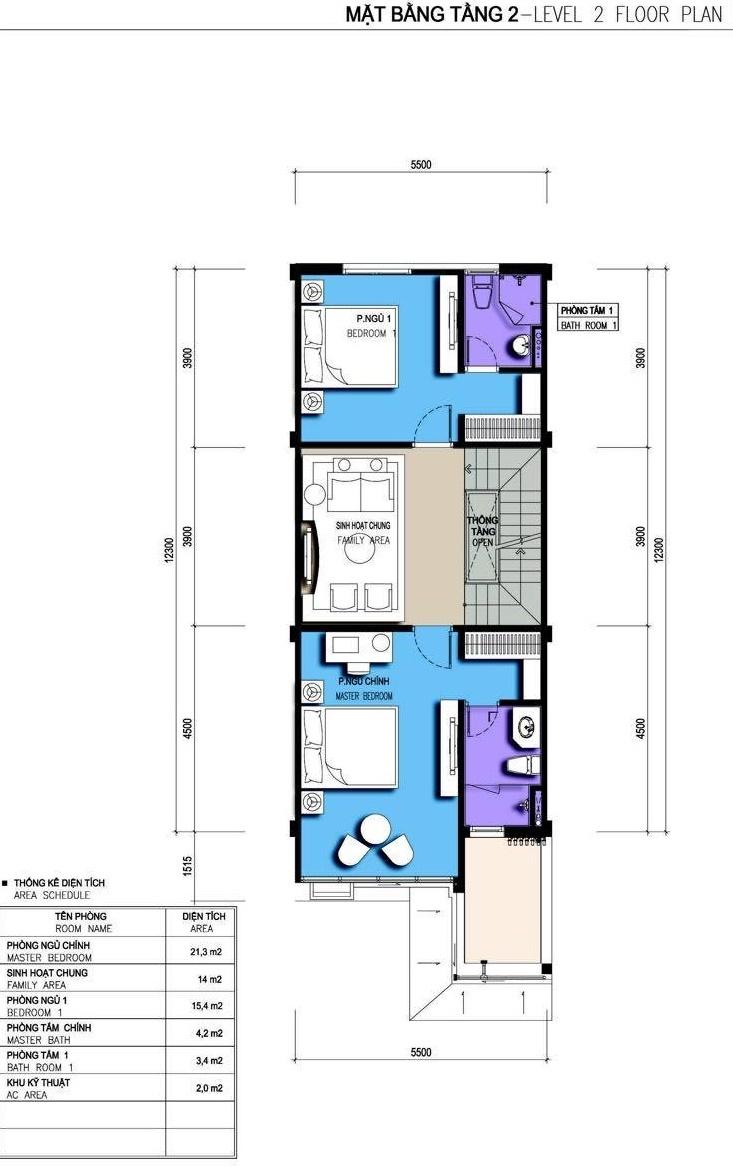 Tầng 2 nhà liền kề Lyly Homes Gamuda