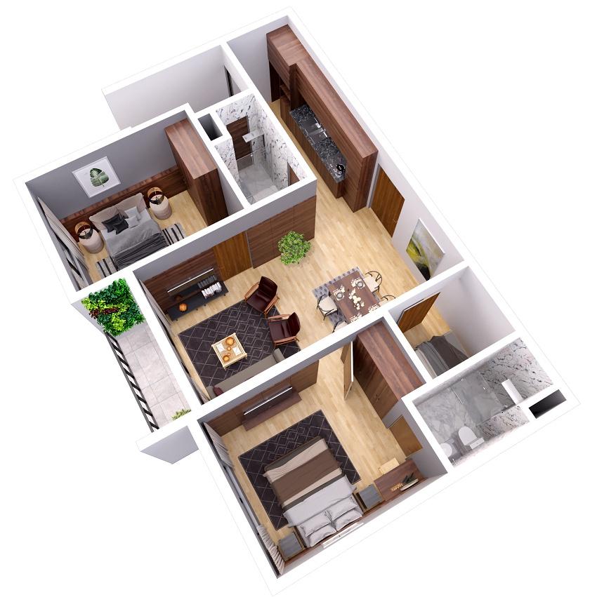 Mặt bằng căn hộ 2 phòng ngủ the zen gamuda