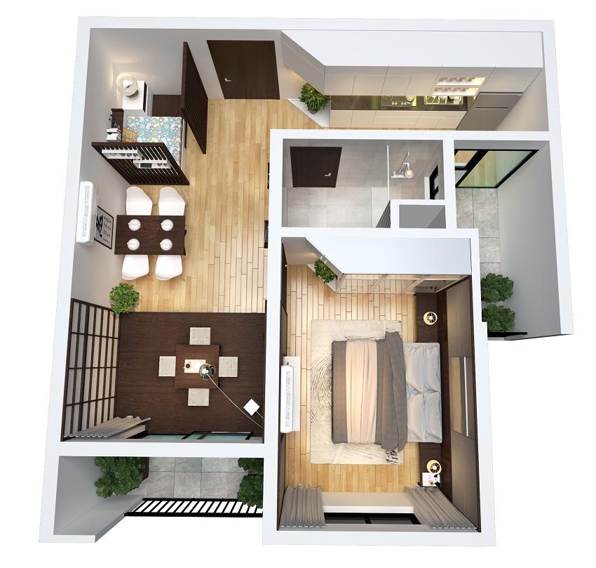 Thiết kế căn 1 phòng ngủ the zen residence